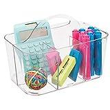 mDesign tragbarer Organizer - Durchsichtiger Aufbewahrungskorb mit Fächern - Bastelsachen und Bürobedarf - Aufbewahrung für Knöpfe, Scheren, Stifte - Farbe: Transparent
