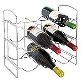 mDesign Weinregal - Weinflaschenhalter aus Metall für bis zu 9 Flaschen - perfekte Flaschenablage für Weinflaschen - Getränkeaufbewahrung in Kühl- & Küchenschrank - Silber