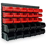 Deuba Wandregal mit Stapelboxen | 32 tlg Box | Extra Starke Wandplatten | Regal Erweiterbar | Werkstattregal Lagerregal Werkstattwandregal Steckregal