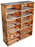 flambierte/geflammte Massive Obstkisten als Regal mit Zwischenbrett/Mittelbrett Einlage 50 x 40 x 30cm / Apfelkisten Weinkisten Holzkisten aus dem Alten Land (6er Set)