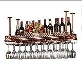 GJ@ Weinregal Für Deckenregale Kreativer Hochregal Aus Glas Im Europäischen Stil Umgedrehter Getränkehalter Bar Zum Aufhängen Von Weinregalen ## (Farbe : Gold, größe : 120x35cm)