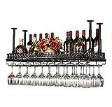 XUE Weinregal Für Deckenregale Kreativer Hochregal Aus Glas Im Europäischen Stil Umgedrehter Getränkehalter Bar Zum Aufhängen Von Weinregalen A++ (Farbe : SCHWARZ, größe : 120x35cm)