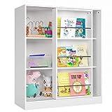 Kinderregal Regal mit Schiebetüren Bücherregal Kommde Schrank Standregal Raumteiler Sideboard weiß 105x37x90cm