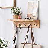 Wandregal mit Hakenleiste Wandgarderobe mit 5Haken und Ablage als Badregal mit Handtuchhalter aus massiv Holz Wandhandtuchhalter als Garderobe für Diele und Bad, natur
