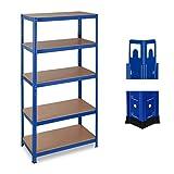 Relaxdays Schwerlastregal, Traglast 875 kg, 5 Ebenen, zum Stecken, Keller, Garage, HxBxT 180x90x45 cm, Stahl & MDF, blau