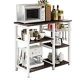 SogesHome Küchenregal Bäcker Regal Standregal 3 Ablage Halter Küchen regallagerung Küchenwagen Servier,Schwarz 90 * 40 * 83 cm, W5S-BK-SH