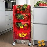 HUANXI 4-Etagen Standregal mit Rollen,Rot Plastik Regal für Badezimmer für Einkaufen Lebensmittel