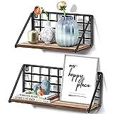 STOREMIC Wandregal, Wandregal Holz Metall 2er set, regal Holz Leicht zumontieren Schweberegal 40cm, schöne Regale Träger 20kg für das küche, Schlafzimmer, Wohnzimmer, Heimbüro usw
