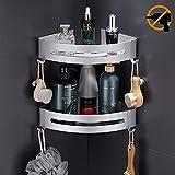 Hodzeed Befestigen Ohne Bohren Eckregal, 2 Etagen Rostfrei Aluminiumlegierung Bad Duschablage Duschkorb für Shampoo