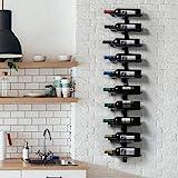 Yaheetech Wandregal Wein Weinregal Flaschenregal aus Metall für 10 Weinflaschen zum Aufhängen perfektes Dekor in Schwarz