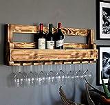 Dekorie Hochwertiges Weinregal aus Holz für die Wand - mit Gläserhalter - Braun - fertig montiert - Regal für Weinflaschen und Weingläser
