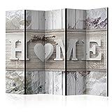 murando Raumteiler Home Holz-Optik Foto Paravent 225x172 cm beidseitig auf Vlies-Leinwand Bedruckt Trennwand Spanische Wand Sichtschutz Raumtrenner Home Office weiß beige m-C-0250-z-c