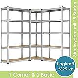 Juskys 3er Metall Regalsystem Basic   1 Eckregal & 2 Lagerregale   15 Böden aus MDF Holz   2625 kg   Schwerlastregal Lagerregal Kellerregal