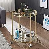 FineBuy Design Servierwagen Gold Ø 57 cm Beistelltisch   Teewagen Metall mit Rollen   Küchenwagen mit Glasplatten   Barwagen rund 75 cm hoch   Küchentrolley modern   Rollwagen